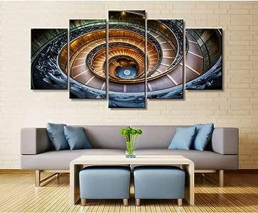 HUDEHUA Wall Art Poster Painting Cuadros Modulares Para Sala De Estar Cuadros Decorativos Impreso En Lienzo Escalera De Caracol De 5 Paneles Edificio Sin Marco: Amazon.es: Bricolaje y herramientas