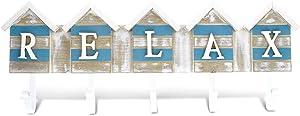 "CoTa Global Aqua Sky ""Relax"" Beach House 5 Hook Wall Hanger, 19.5"