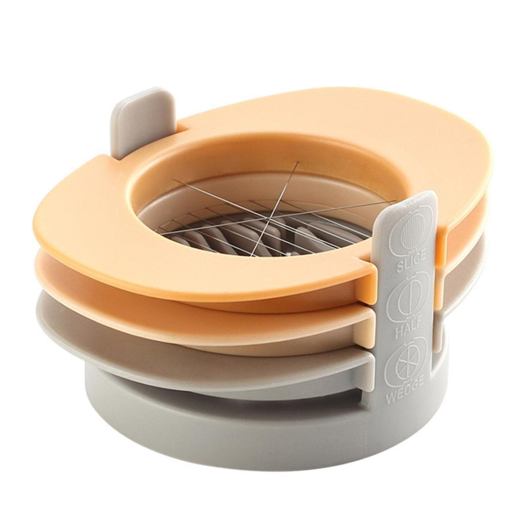 LiPing Stainless Steel Egg Slicers Cutter 3 in 1 Fixed Base Hard Boiled Egg Slicer (Orange)