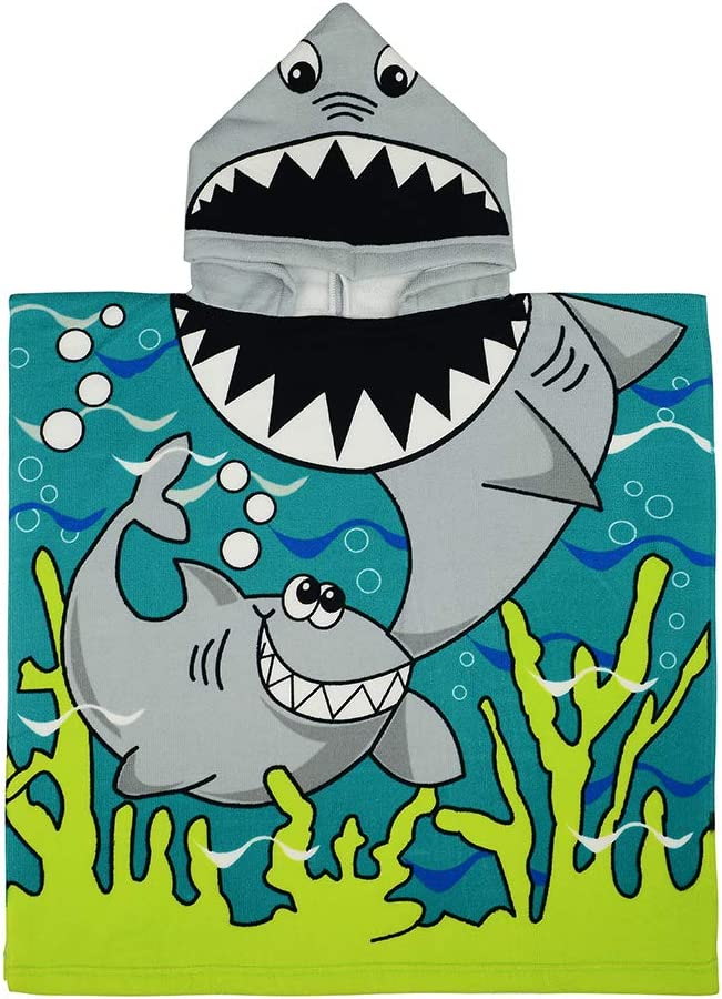 Azue Hooded Towels for Boys Girls Gift Soft Beach Towel 24x24 Inches Swim Pool Coverup Poncho Cape Shark One Size