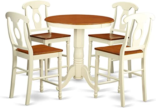 EDKE5-WHI-W 5 Pc counter height Table and chair set – Dining Table and 4 Kitchen bar stool.