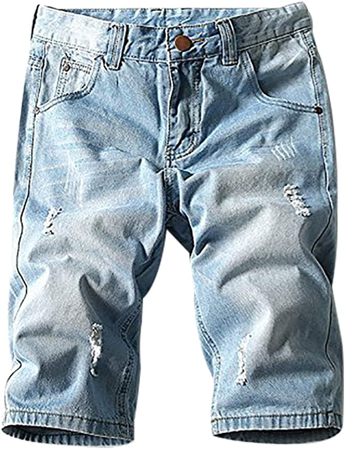 Jean Shorts for Men Plus Size,Casual Summer Light Weight Straight Loose Fit Denim Shorts