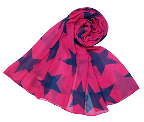 7870fe863f0b6 Image Unavailable. Image not available for. Colour: The Olive House® Womens  Big Star Scarf Cerise Pink and Navy Blue