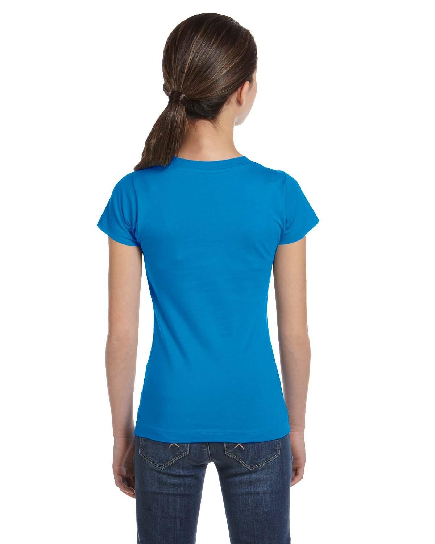 LAT Girls' Fine Jersey T-Shirt, Small, Cobalt
