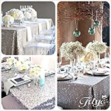 "TRLYC 60x102"" Sequin RECTANGULAR Tablecloth --Silver"