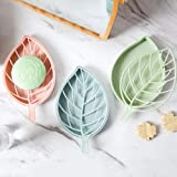 STORE77® Beautiful Leaf Shape Double Layer Soap Dish Case Holder- Bathroom Accessory, Shape Soap Dispenser Dish Case Holder Container Box Bathroom Case, Soap Box Leaf Shape Soap Dish Storage Tray Holder Case Container Soap Holder Soap Tray Soap Saver for Shower Waterfall/Bathroom/Kitchen/Counter Top- Size: 10*17 CM. Random Colors (Set of 2)