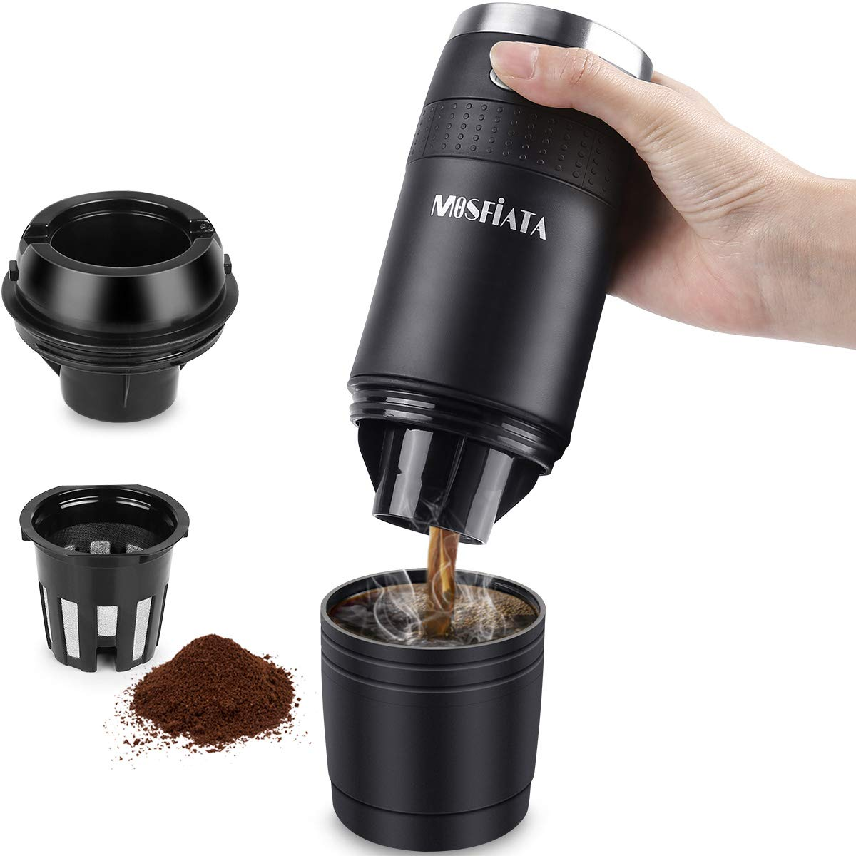 MOSFiATA Portable Coffee Maker, Compatible with K-Cup Capsule and Ground Portable Coffee Machine, Battery Operated (2AAA Battery), Portable Espresso Coffee Maker Perfect for Camping, Travel, Home and Office