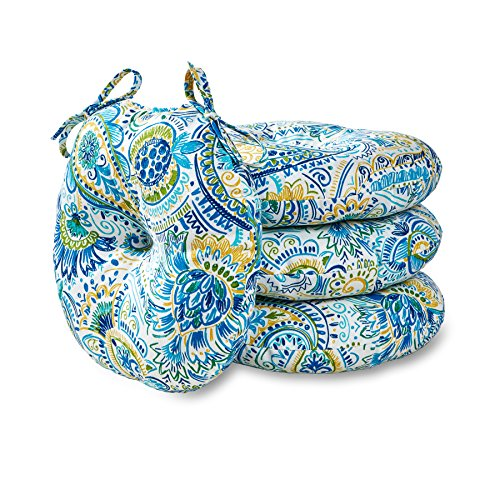 Greendale Home Fashions 15 in. Round Outdoor Bistro Chair Cushion in Painted Paisley (set of 4), Baltic