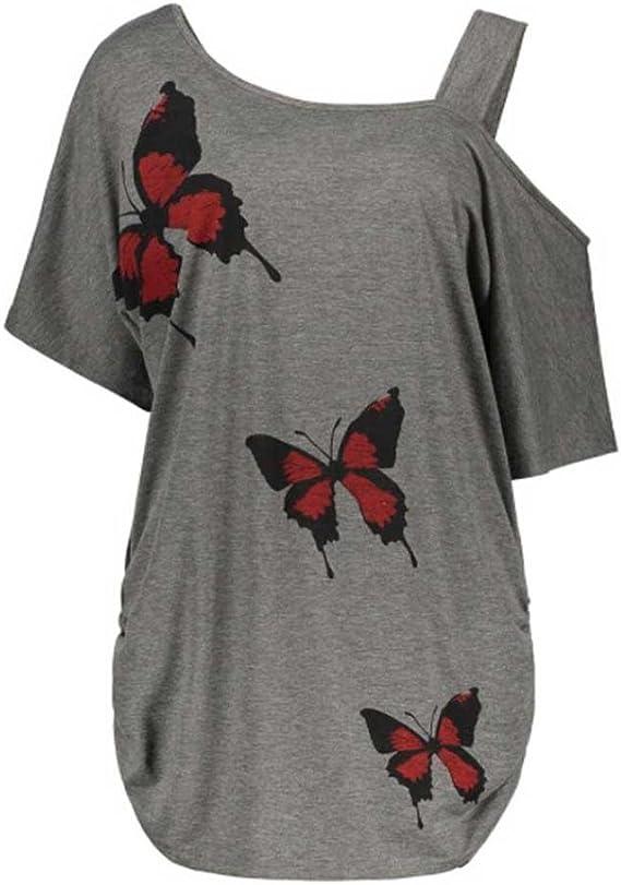 LuckyGirls Camisetas Mujer Manga Corta Verano Originales Mariposas Estampado Expuesto Hombro Sexy Remeras Blusa Camisas Tallas Grandes(XL~5XL) (XL, Gris): Amazon.es: Deportes y aire libre