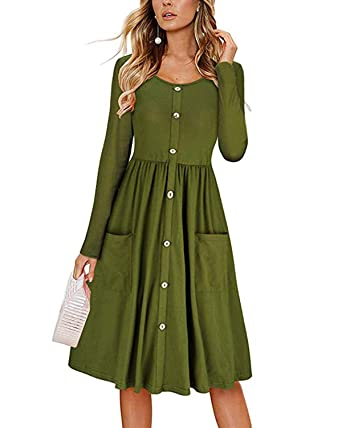 00fdd337789b Women s Dresses Long Sleeve Casual Button Down Swing Midi Dress with Pockets  Small Army Green