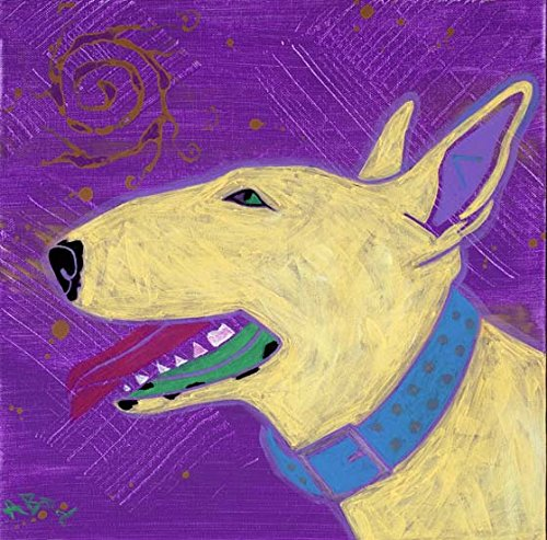Bull Terrier Profile Print, Dog Art MATTED Print by Angela Bond (Art Bull Terrier)