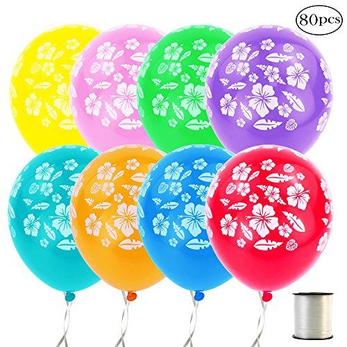 Coceca 80Pcs Hawaiian Luau Tropical Party Balloons with 1Pack 250Yd Balloon Ribbon for Hawaiin Luau party and Beach Theme (Hawaiin Theme)