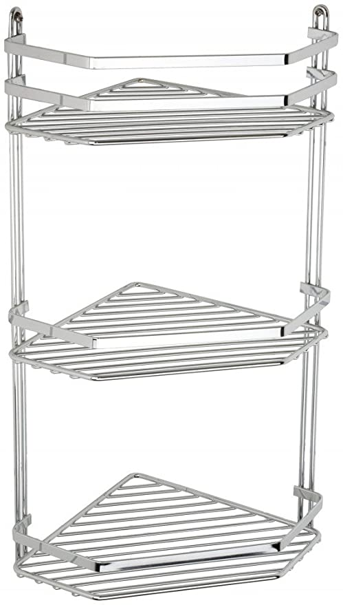 Satina Wire Triple Shelf Corner Shower Basket Chrome by Norwood ...