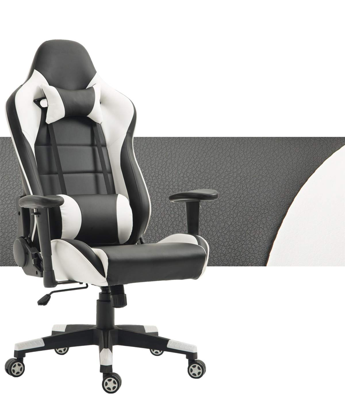 Racing Gaming Chair Memory Foam Leather Video Game Chairs Ergonomic Swivel Computer Chair High Back Leather Chair with Lumbar Cushion for Home Entertainment Furniture (Black/Grey) Trumchi