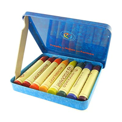 Stockmar Beeswax Stick Crayons in Storage Tin, Set of 8 Colors, Waldorf Assortment: Office Products