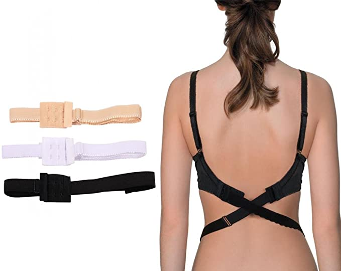 2915be0279dcf Women s Low Back Bra Converter Adjustable Strap Extender with 2 Hooks 3  Pieces