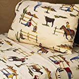 3 Piece Wild Western Flair Cowboy Patterned Sheet Set Twin Size, Featuring Printed Graphic Human Playful Horse Bulls Mountains Cactus Bedding, Vintage Earthy Design, West County Style Bedroom, Brown