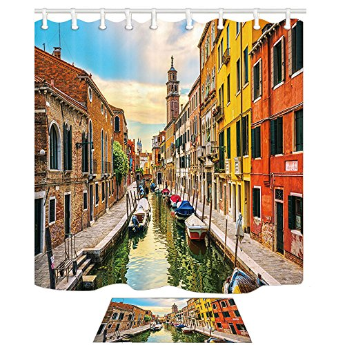 Canal Tropical Rug - NYMB Venice Cityscape Bath Curtains for Bathroom, Wooden Boat on Canal with Brick Wall Building, Mildew Resistant Fabric Shower Curtain with Bath Rugs, Shower Curtain Hooks Included, 69X70in