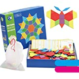 feelingood Wooden Pattern Blocks Puzzle Box Educational Toys Challenge IQ for Children Kids