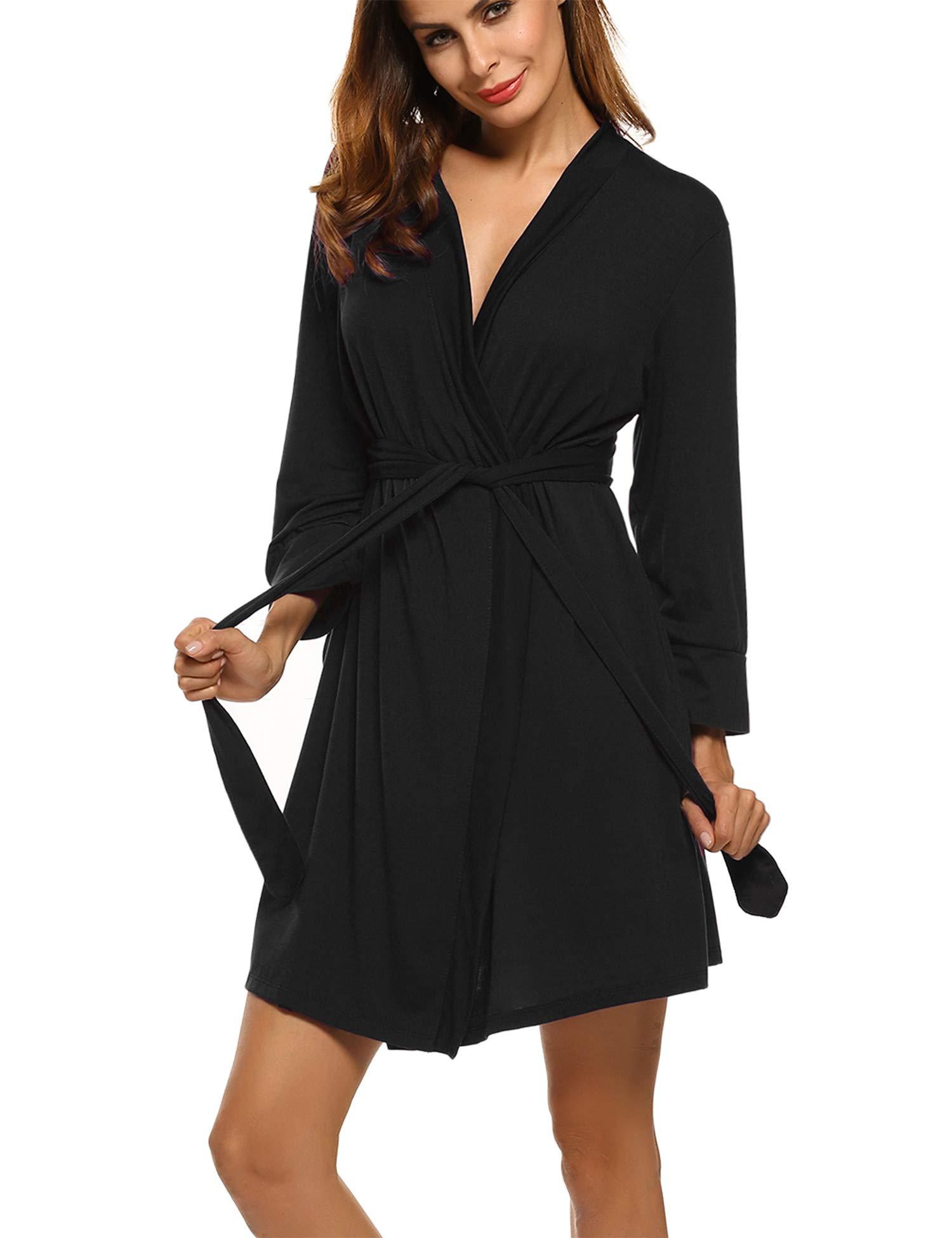 Hotouch Womens Bathrobe Soft Kimono Cotton Knit Robe Sleepwear Black S by Hotouch