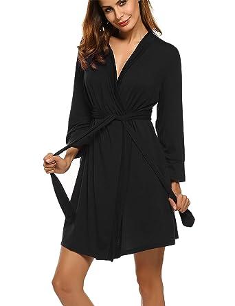 9f04799e788 Hotouch Womens Bathrobe Soft Kimono Cotton Knit Robe Sleepwear Black S