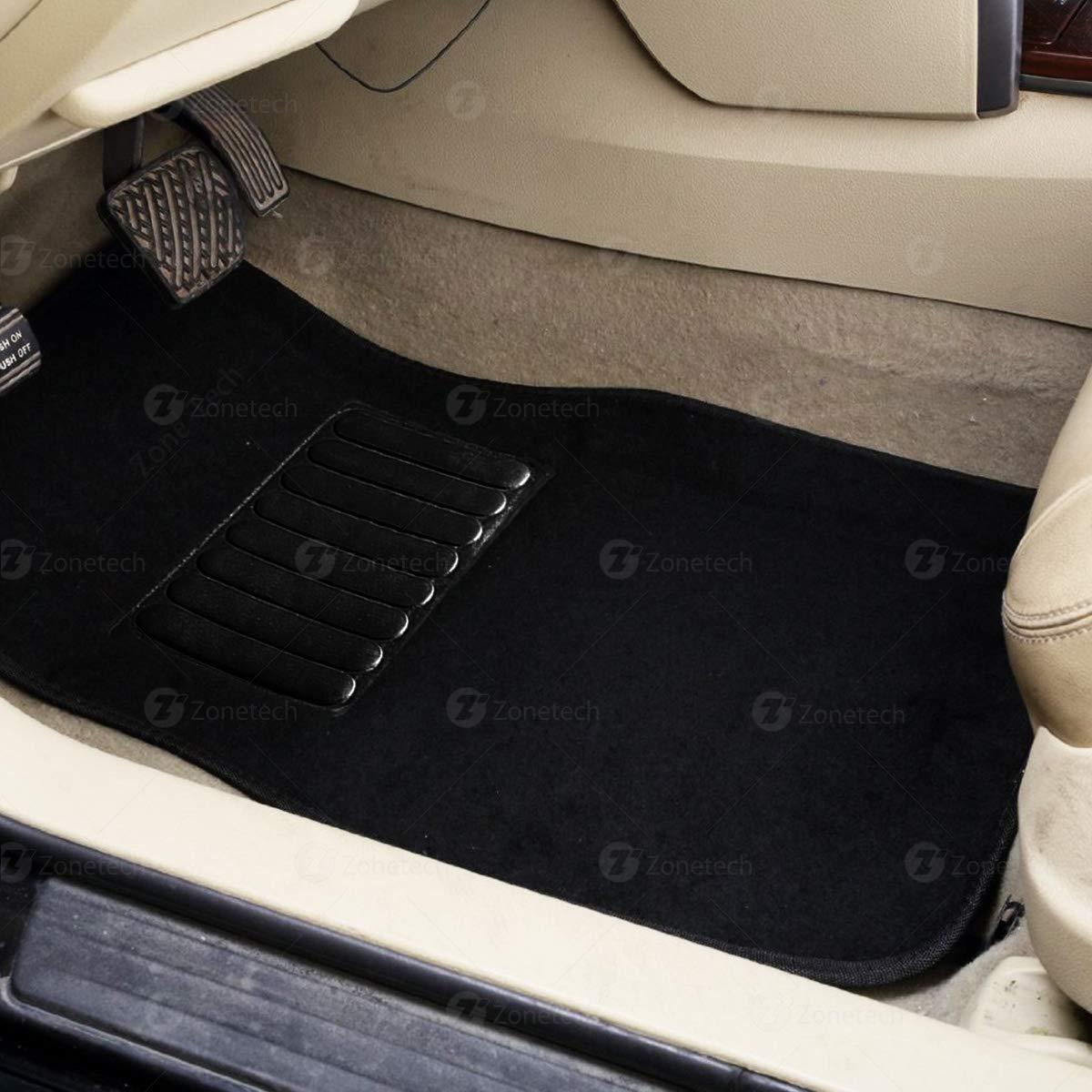 Driver Seat Zone Tech All Weather Carpet Vehicle Floor Mats 4-Piece Black Premium Quality Carpet Vehicle Floor Mats Plus Vinyl Heel Pad for Additional Protection Passenger Seat and Rear Floor Mats FM0005