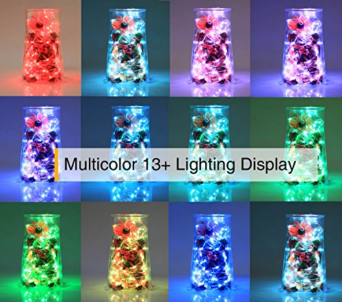 Large Product Image of Homestarry LED Fairy Lights Battery Powered with Remote Control, Waterproof Decorative Silver Wire, Bedroom,Patio,Indoor,Party,16.4 ft 50LEDs, Multi Color Changing Lights,13 Colors Option