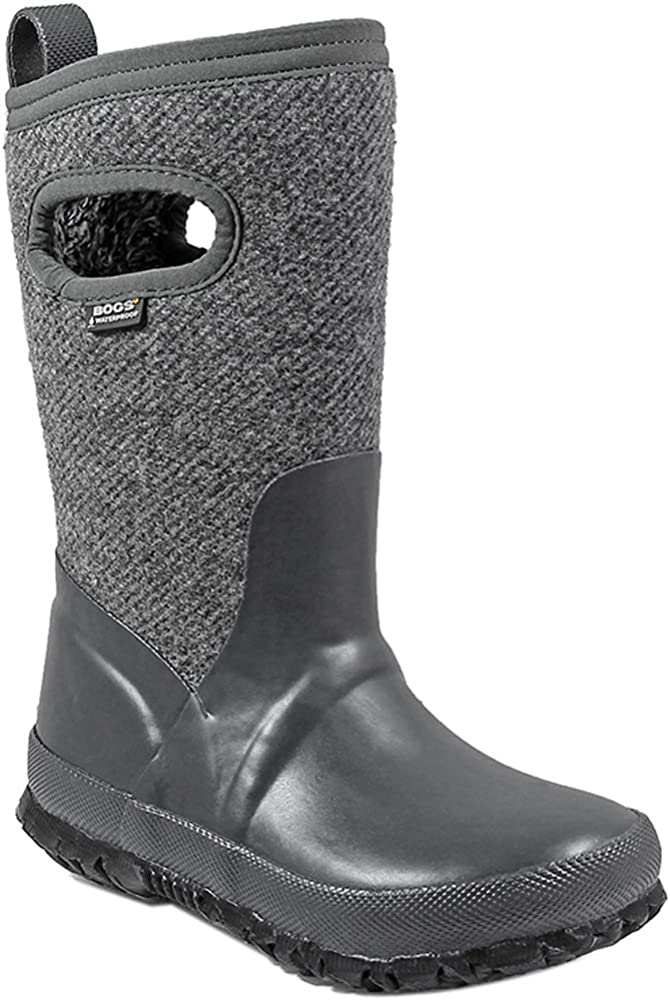 BOGS Boys Crandall Wool Rain Boot Dark Gray Size 2 M US Little Kid