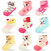 9 Pairs Baby Girls Newborn Infant Socks, Ankle Socks Cotton with Grips (9 Pairs, 0-6 Months)