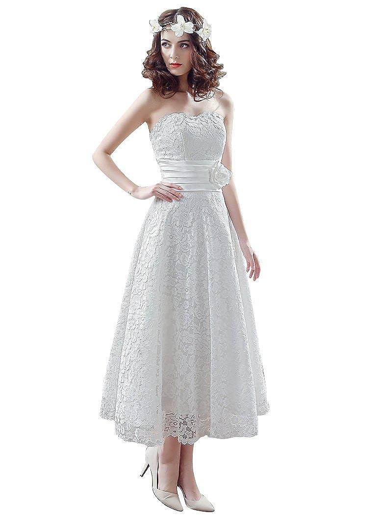Beauty Emily Sleeveless Tube Sweetheart Mid Calf Lace Up Wedding