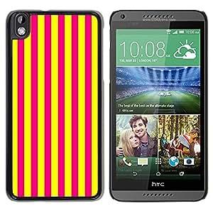 Be Good Phone Accessory // Dura Cáscara cubierta Protectora Caso Carcasa Funda de Protección para HTC DESIRE 816 // Vertical Lines Bright Yellow Purple