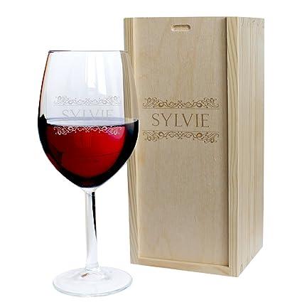 Coffret vidrio de vino grabado nombre: Amazon.es: Hogar