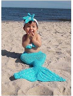 c5eba1926 Pinbo Newborn Baby Girls Mermaid Headband Bra Tail Crochet Knit Photography  Prop