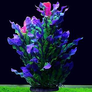 Tacobear Artificial Aquarium Plants Decor Plastic Fish Tank Plants Decorations Ornament Large Aquatic Plant for Aquarium(Purple)