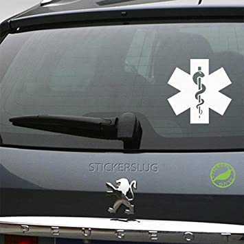 Caduceus snake staff medical symbol decal gloss white 5 inch for car truck