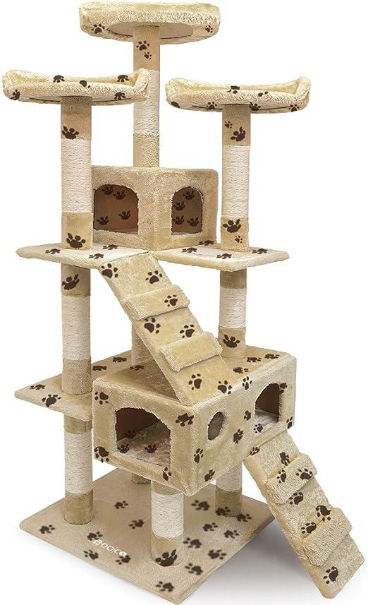 CADOCA® Rascador para gatos de 175 cm con tres plataformas, escaleras y dos cuevas- beige con motivo huellas: Amazon.es: Hogar