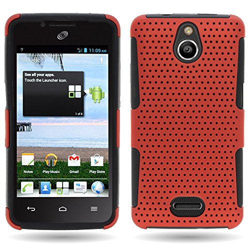 Huawei H881C Case, CoverON [Mesh Hybrid Series] Protective Dual Layer Armor Phone Cover Case for Huawei Ascend Plus H881C / Valiant - Orange & Black]()