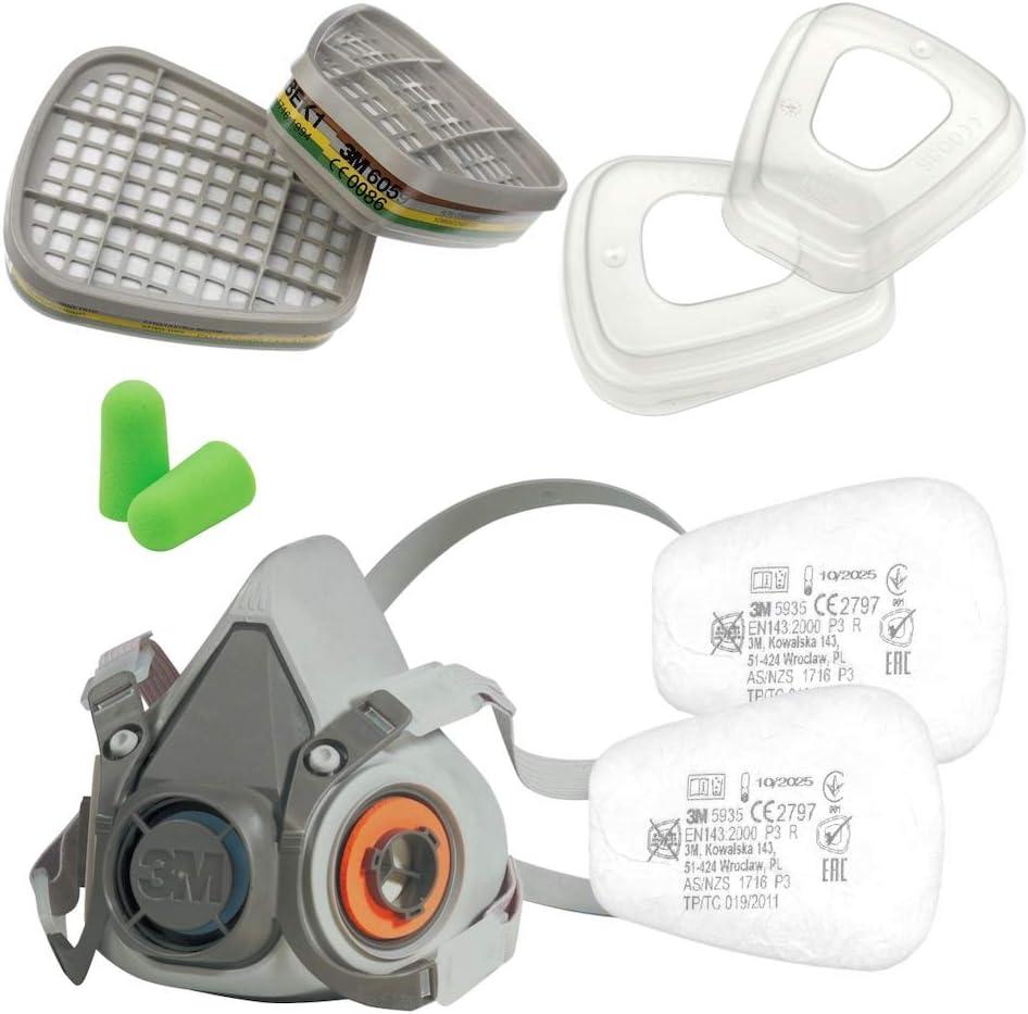 3M Juego de media máscara serie 6000 tamaño L 6300 con filtro de gas 6059 ABEK1 con filtro de partículas 5935 P3 R y tapa de filtro 501 con tapones para los oídos SmartProduct