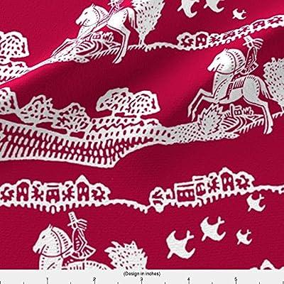 Toile Fabric Horseman Red by Keweenawchris Printed on by the Yard by Spoonflower