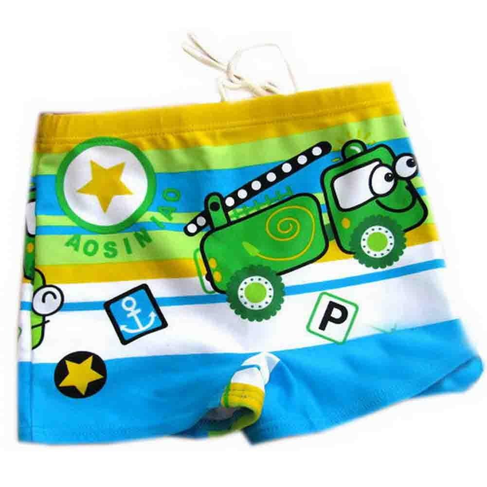 Green Boy Leg Swim Shorts For Kids Cartoon Car Swim Trunk(3-5 Years Old) PANDA SUPERSTORE