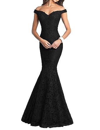 b117b36d1321 Monalia Women's Off Shoulder Mermaid Long Prom Dress 2018 Formal Gowns Size  2 Black
