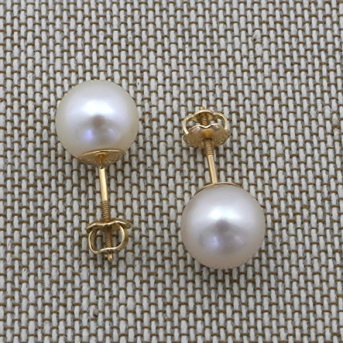 14k Yellow or White Gold AAA White Freshwater Cultured Pearl Earrings with Screwbacks