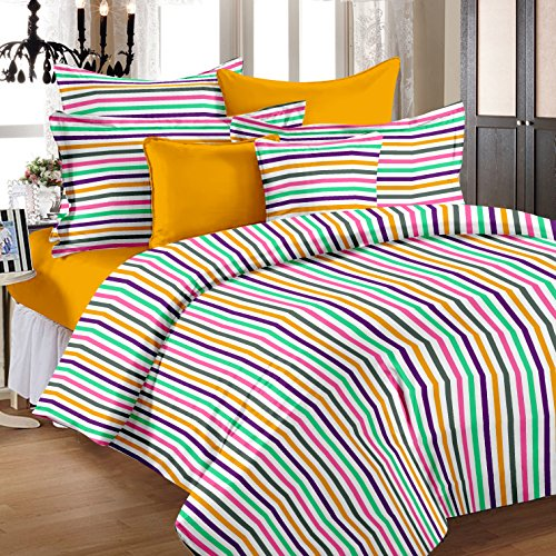 Story@Home SP1202TC 100% Cotton Multicolor 1 Single Bedsheet with 1 Pillow Cover