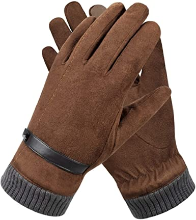 Men Gloves Touch Screen Suede Leather Winter Warm Fleece Lined Thermal Driving
