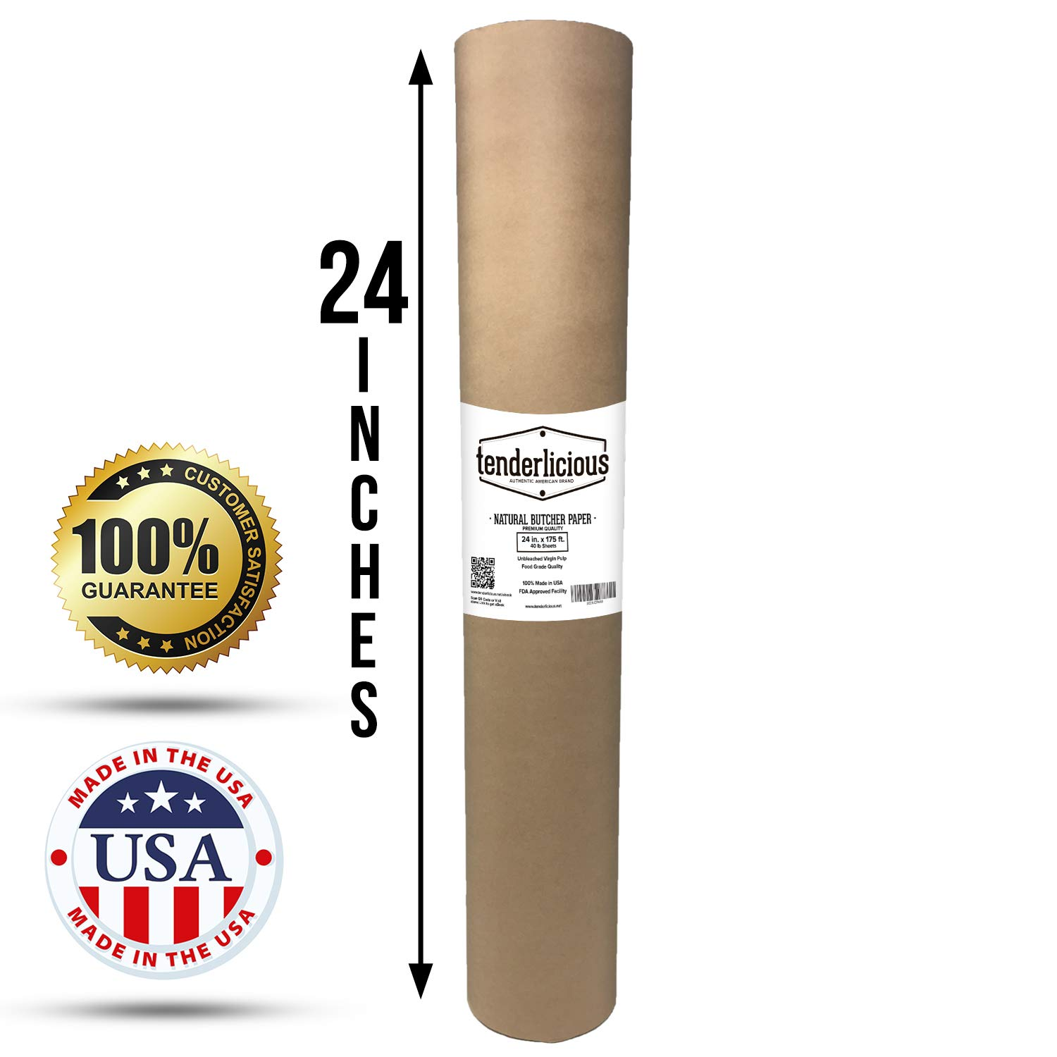 Brown Butcher Kraft Paper Roll - 24 '' x 175' (2100'') Food Wrapping Paper for Beef Briskets - USA Made - All Natural FDA Approved Food Grade BBQ Meat Smoking Paper - Unbleached Unwaxed Uncoated Sheet