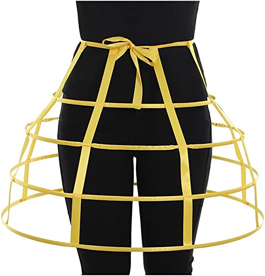 Red hoop cage skirt long pannier boned crinoline