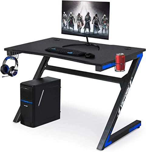 Computer Gaming Desk with Large Carbon Fiber Surface Cup Holder Headphone Hook for Home or Office, Gaming PC Desk Table