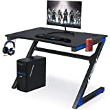 Computer Gaming Desk with Large Carbon Fiber Surface Cup Holder & Headphone Hook for Home or Office, Gaming PC Desk Table(Black and Blue)