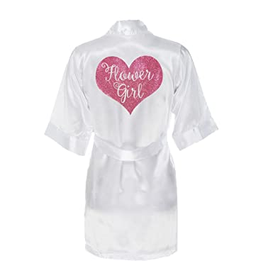 d31a52a91ed flower girl robe satin with pink glitter (large 10-12yrs