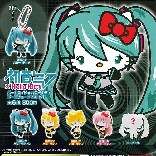 Full set of 6 Kitan Club Gacha Hatsune Miku ~ Hello Kitty Vocaloid ~ Hello Kitty ball chain mascot secret enters (japan import)